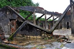 Ruins from Vietnam war at Hue citadel. Ruins of a destroyed palace at Hue citadel, Vietnam Stock Image