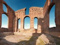 Ruins of Villa dei Quintili,a landmark upon Appia Way in Rome. Ruins of Villa dei Quintili,a landmark upon Appia Way leading to Rome in Italy, panoramic image Royalty Free Stock Photos