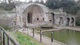 Ruins of Villa Adriana in Tivoli, Italy. The ruins of the villa of the Roman emperor Adrian, who lived in 117-138 in Tivoli, Italy Stock Image