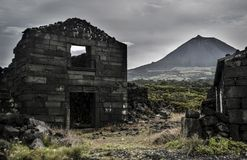 Ruins of a village after the eruption of Pico Stock Image