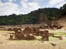 Ruins of a village in the reservoir Belesar, Lugo, Galicia, Spai. N in a sunny day Stock Photos