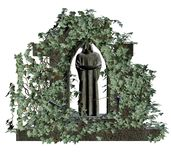 Ruins with vines. 3D render of gothic ruins with green vines Royalty Free Stock Photos