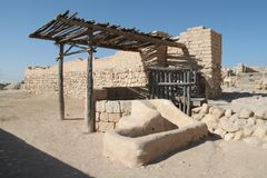 Ancient Basin, Tel Beer Sheva, Israel. Ruins of the wall and an ancient basin at the Archeological National park Tel Beer Sheva, Israel stock image