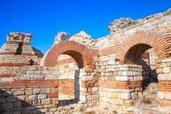 Ruins of the Wall around the Nessebar town, Bulgaria Stock Image