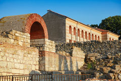 Ruins of the wall around old Nessebar town, Bulgaria Stock Images