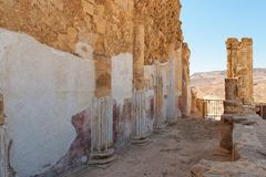 Ruins of wall and colonnade of ancient  palace Stock Photography