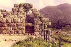 Ruins of wall with gate in the city Messina Stock Image