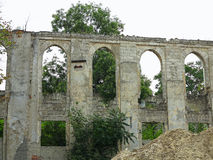 Ruins of walls of medieval castle with vegetation Royalty Free Stock Photos