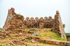 Ruins of Watch Tower at Tughlaqabad fort Royalty Free Stock Image