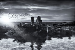 Ruins on the water landscape Royalty Free Stock Photo