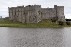 Ruins of Welsh Carew Castle on Lake Royalty Free Stock Photos