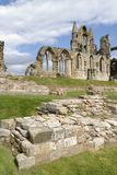 Whitby abbey ruin, yorkshire, uk. The ruins of Whitby Abbey in Yorkshire, famous for providing inspiration for Bram Stoker`s Dracula on an overcast day in Stock Image