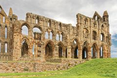 Ancient whitby abbey, yorkshire, uk. The ruins of Whitby Abbey in Yorkshire,  famous for providing inspiration for Bram Stoker`s Dracula, yorkshire, uk Stock Photos