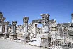 Ruins of the White synagogue in Capernaum Stock Photo