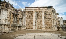 The ruins of White Synagogue in Jesus Town of Capernaum, Israel royalty free stock photo