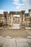 The ruins of White Synagogue in Jesus Town of Capernaum, Israel royalty free stock image