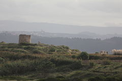 Ruins of a windmill. In  south of S Martinho do Porto - Portugal Royalty Free Stock Photography