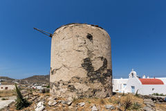 Ruins of windmill in Town of Ano Mera, island of Mykonos, Greece Stock Photos