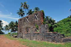 Ruins of the workshop, isle Royale, French Guiana. Ruins of the workshop on isle Royale. French Guiana. In this building, manual work had been carried on by the Royalty Free Stock Photo