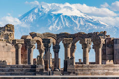 Ruins of the Zvartnos temple in Yerevan, Armenia. With Mt Ararat in the background stock photo