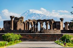 Ruins of the Zvartnos temple in Yerevan, Armenia. With Mt Ararat in the background royalty free stock photo