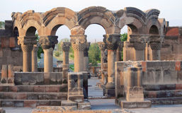 Ruins of Zvartnots near Yerevan Stock Photo