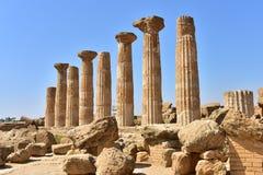 Ruiny świątynia Heracles †'dolina świątyni †'Agrigento †'Sicily †'Włochy Zdjęcia Stock