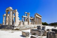Ruiny świątynia na wyspie Aegina, Grecja Fotografia Royalty Free
