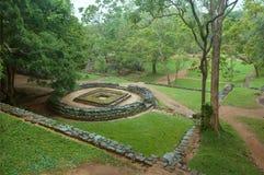 Ruiny święta struktura antyczny miasto Sigiriya z wiejskim krajobrazem i drzewami, Sri Lanka Unesco Światowego Dziedzictwa Miejsc Obraz Stock