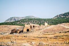 Ruiny amfiteatr w antycznym mieście Hierapolis w Pamukkale, Turcja obrazy stock