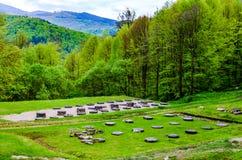 Ruiny antyczna świątynia przy Sarmizegetusa Regia, Transylvania, Ro zdjęcia royalty free