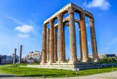 Ruiny antyczna świątynia Zeus, Ateny, Grecja Obraz Royalty Free