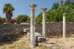 Ruiny antyczna agora w Kosa miasteczku, Kos wyspa Fotografia Stock