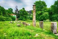 Ruiny antyczna agora w Thassos, Limenas, Grecja Zdjęcie Royalty Free