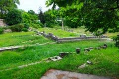 Ruiny antyczna agora w Thassos, Limenas, Grecja Obrazy Stock