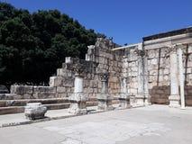 Ruiny antyczna synagoga w Capernaum, Izrael obraz stock