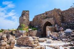 Ruiny antyczne defensywne ściany zdjęcie royalty free