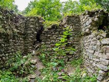 Ruiny antyczny kamienny forteca w zwartym zielonym lesie zdjęcie stock