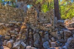 Ruiny antyczny miasteczko Phaselis Zdjęcia Royalty Free