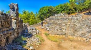 Ruiny antyczny miasteczko Phaselis Obrazy Stock