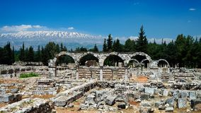 Ruiny antyczny miasto Anjar, Bekaa dolina Liban Zdjęcie Stock