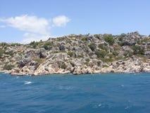 Ruiny antyczny miasto na Kekova wyspie, Turcja Fotografia Royalty Free