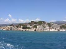 Ruiny antyczny miasto na Kekova wyspie, Turcja Zdjęcie Royalty Free