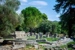 Ruiny antyczny olimpia, Grecja Tutaj bierze miejscu dotyka olimpijski płomień zdjęcie stock