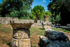 Ruiny antyczny olimpia, Grecja Tutaj bierze miejscu dotyka olimpijski płomień zdjęcia stock