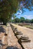 Ruiny antyczny olimpia, Grecja Tutaj bierze miejscu dotyka olimpijski płomień fotografia royalty free