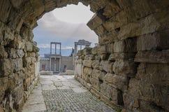 Ruiny antyczny Romański teatr w mieście Plovdiv obraz royalty free