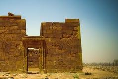 Ruiny Apademak Kush świątynna cywilizacja, Naqa, Meroe, Sudan zdjęcie stock