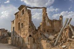 Ruiny Belchite wioska niszcząca bombardowaniem Hiszpańska Cywilna wojna Obraz Royalty Free