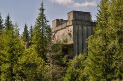 Ruiny blaszana fabryka blisko wioski Rolava niemiec Sauersack w Rudnych górach obraz royalty free